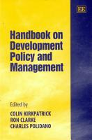 Handbook on Development Policy and Management PDF