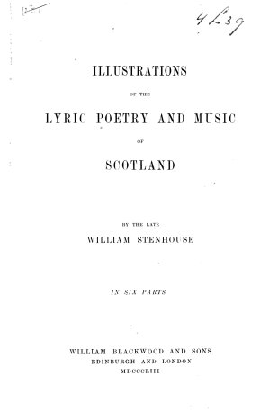 Illustrations of the Lyric Poetry and Music of Scotland