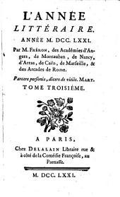 L' année littéraire: 1771,3, Volume1771,Numéro3