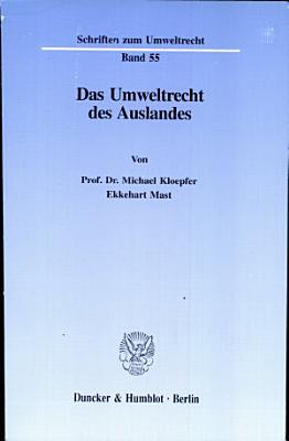 Das Umweltrecht des Auslandes PDF