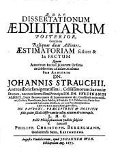 Dissertationes aedilitiae: Continens reliquas duas actiones, aestimatoriam scilicet, et in factum. Posterior