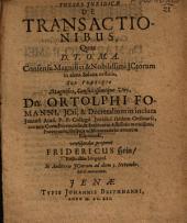 Theses Iuridicae De Transactionibus