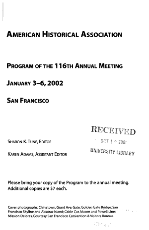 Program of the ... Annual Meeting of the American Historical Association