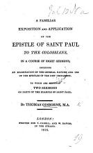 A familiar exposition and application of the Epistle of St  Paul to the Colossians  in     Eight Sermons PDF