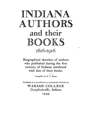 Indiana Authors and Their Books, 1816-1916