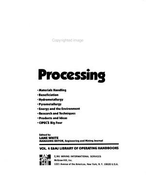 E Mj Operating Handbook Of Mineral Processing