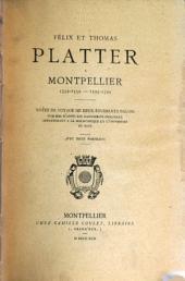Félix et Thomas Platter à Montpellier 1552-1559--1595-1599