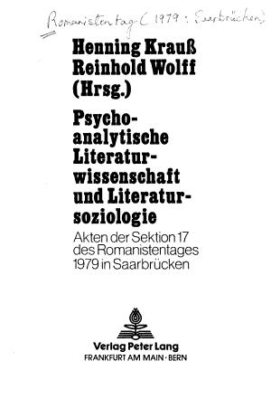 Psychoanalytische Literaturwissenschaft und Literatursoziologie PDF