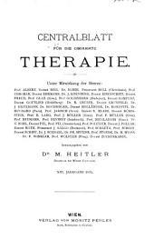 Zentralblatt für die gesamte Therapie: Band 13
