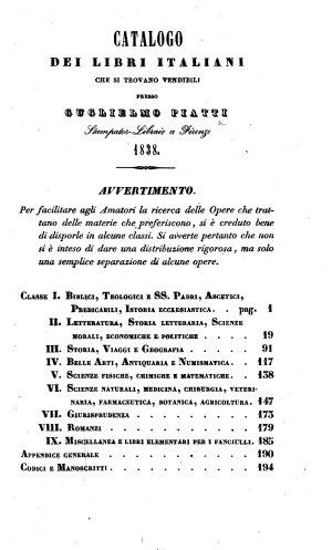 Catalogo dei libri italiani che si trovano vendibili presso Guglielmo Piatti stampator libraio a Firenze