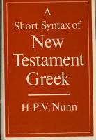 A Short Syntax of New Testament Greek PDF