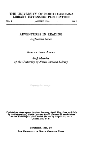 The University of North Carolina Library Extension Publication