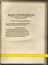 Ioannis Reuchlin ... Liber Congestorum de arte praedicandi