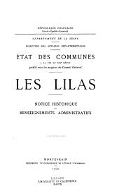 État des communes à la fin du XIXe siècle: Les Lilas: notice historique et renseignements administratifs