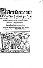 Sacri sacerdotij defensio contra Lutherum