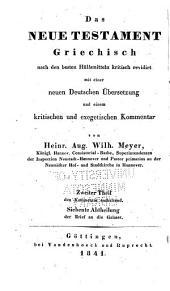 Kritisch exegetischer kommentar über das Neue Testament: Bände 7-8