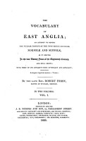 The Vocabulary of East Anglia Etc PDF