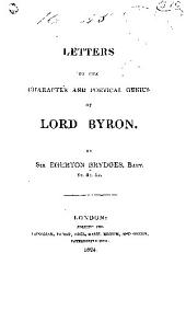 Letters on the character and poetical genius of Lord Byron