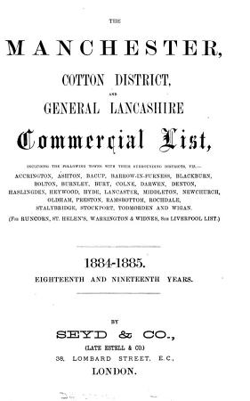 The Manchester commercial list  afterw   The Manchester   district commercial list  afterw   The Manchester  cotton district and general Lancashire commercial list PDF