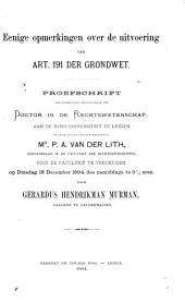 Eenige opmerkingen over de uitvoering van art. 191 der Grondwet ...