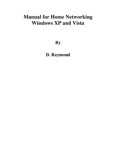Manual For Home Networking Windows Xp And Vista