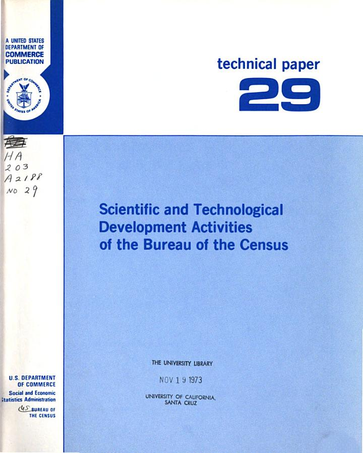 Scientific and Technological Development Activities of the Bureau of the Census