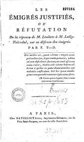 Les Émigrés justifiés, ou Réfutation de la réponse de M. Leuliete à M. Lally-Tolendal, sur sa défense des émigrés ; par F. T-D. [François-Thomas Delbare ?]