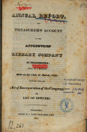 Annual Report and Treasurer's Account of the Apprentices' Library Company of Philadelphia