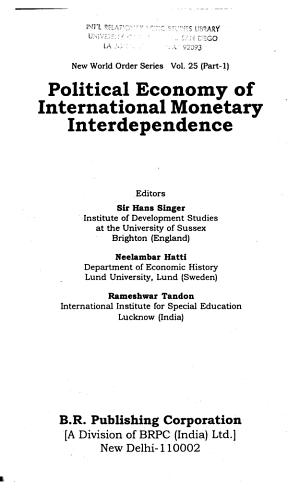 Political Economy of International Monetary Interdependence PDF