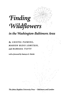 Finding Wildflowers in the Washington-Baltimore Area