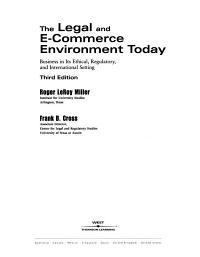 The Legal and E commerce Environment Today Book