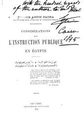 Considérations sur l'instruction publique en Égypte