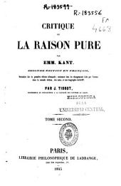 Critique de la raison pure: Volume 2