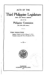 Laws of the ... Philippine Legislature ...: Public Resolutions, Etc, Issue 2188, Part 2401