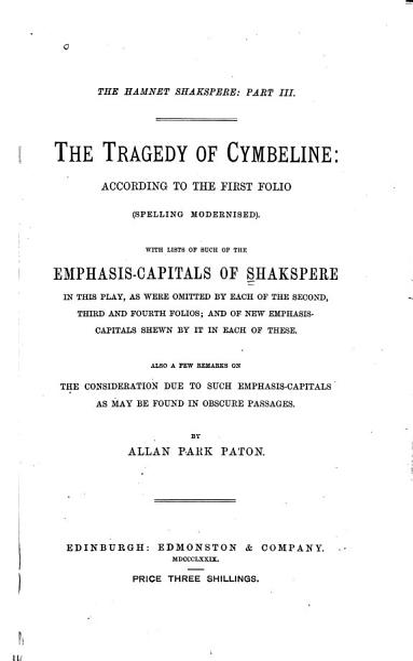The Tragedy of Cymbeline PDF