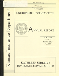Annual Report of the Kansas Insurance Department PDF