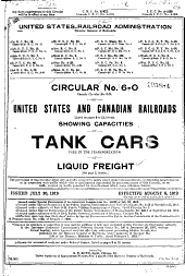 United States and Canadian Railroads ...: Showing Capacities of Tank Cars Used in the Transportation of Liquid Freight ... Issued July 30, 1919. Effective August 8, 1919 ...