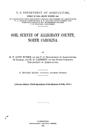 Soil survey of Alleghany County, North Carolina