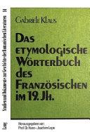 Das etymologische W  rterbuch des Franz  sischen im 19 Jh PDF