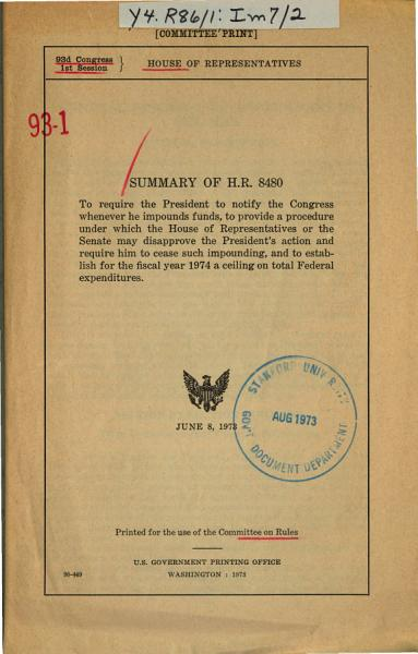 Summary of H R  8480  to Require the President to Notify the Congress Whenever He Impounds Funds  to Provide a Procedure Under which the House of Representatives Or the Senate May Disapprove the President s Action and Require Him to Cease Such Impounding  and to Establish for the Fiscal Year 1974 a Ceiling on Total Federal Expenditures PDF