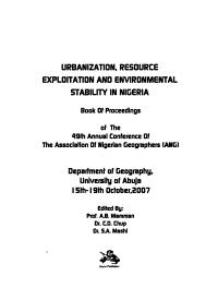 Urbanization  Resource Exploitation and Environmental Stability in Nigeria PDF