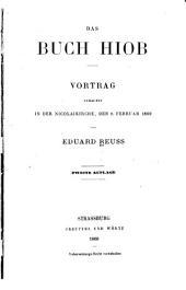 Das Buch Hiob: Vortrag gehalten in der Nicolaikirche, den 8. Februar 1869