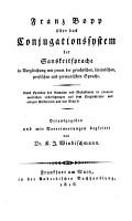 ber das Conjugationssystem der Sanskritsprache in Vergleichung mit jenem der griechischen  lateinischen  persischen und germanischen Sprache PDF