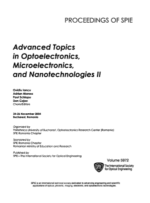 Advanced Topics in Optoelectronics  Microelectronics  and Nanotechnologies PDF