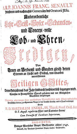 Auserordentliche Lehr  Geist  Eyfer  Gedancken  und concept volle Lob  und Ehren Predigen  von denen     Heiligen Gottes PDF