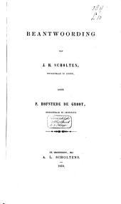 Beantwoording van J. H. Scholten