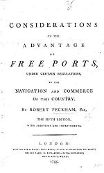Considerations on the advantage of Free Ports, ... to the navigation and commerce of this country. The fifth edition, with additions