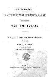 Index alphaberticus codicis diplomatici Hungariae ...