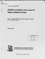 ASVAB Correlations are Lower for Higher Aptitude Groups PDF
