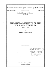 The Original Identity of the York and Towneley Cycles: Issue 6